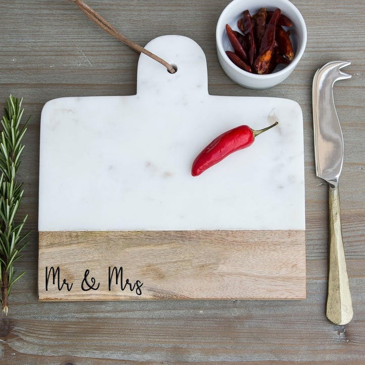 """""""Mr and Mrs"""" Engraved Marble Cheese Board"""