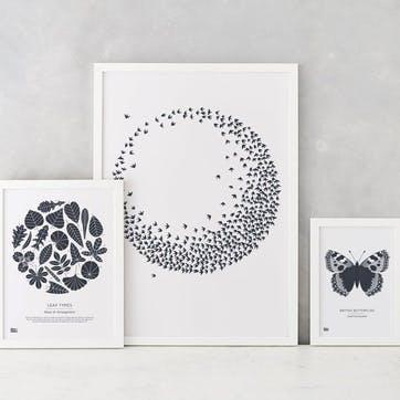Flocking Birds Screen Print - 50 x 70cm; Sheer Slate