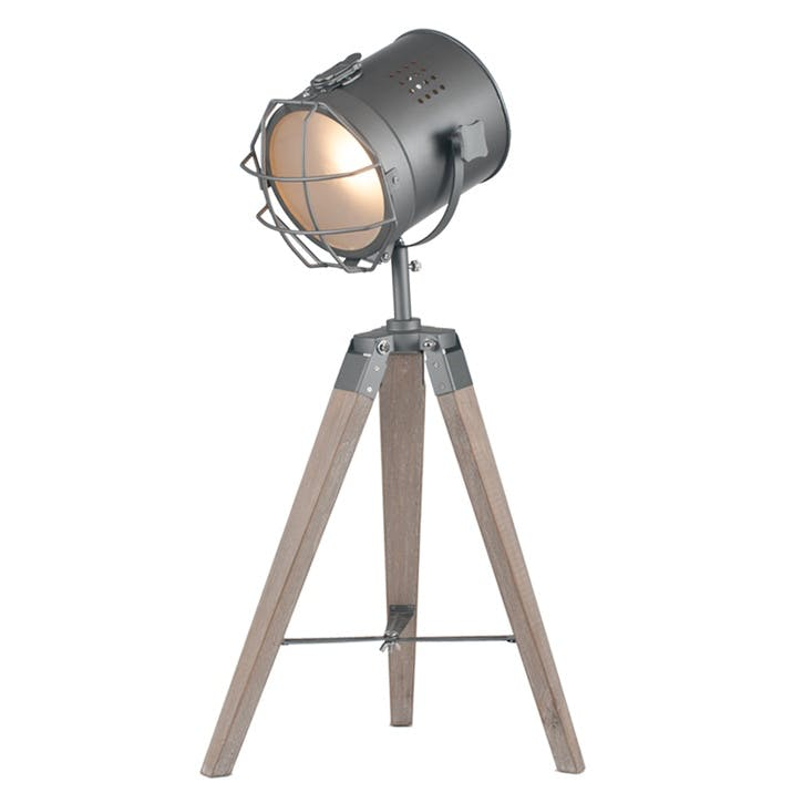 Marine Metal & Antique Wood Tripod Lamp