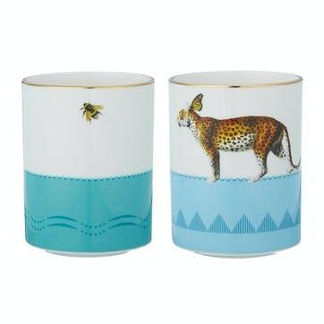 Colourful Cheetah & Penguin Mugs, Set of 2