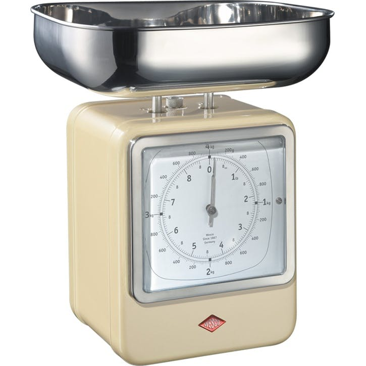 Retro Scale with Clock, Almond
