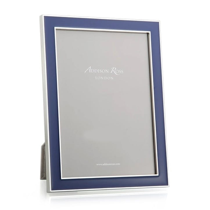 "Navy Blue Enamel & Silver Frame, 5 x 7"""