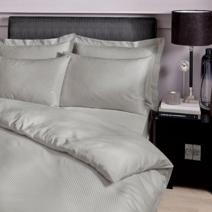 300TC Satin Stripe Double Bedding Set, Grey