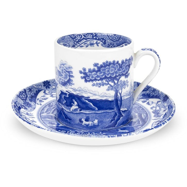 Blue Italian Coffee Cups & Saucers, Set of 4