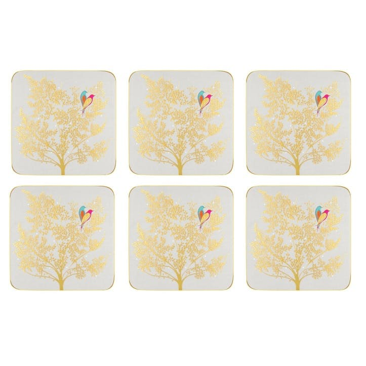 Chelsea Collection Coasters, Set of 6; Light Grey