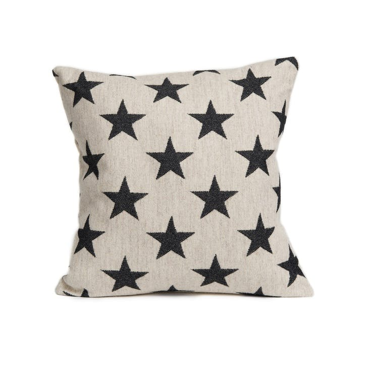 Antares Star Cushion Black On Linen, 40cm