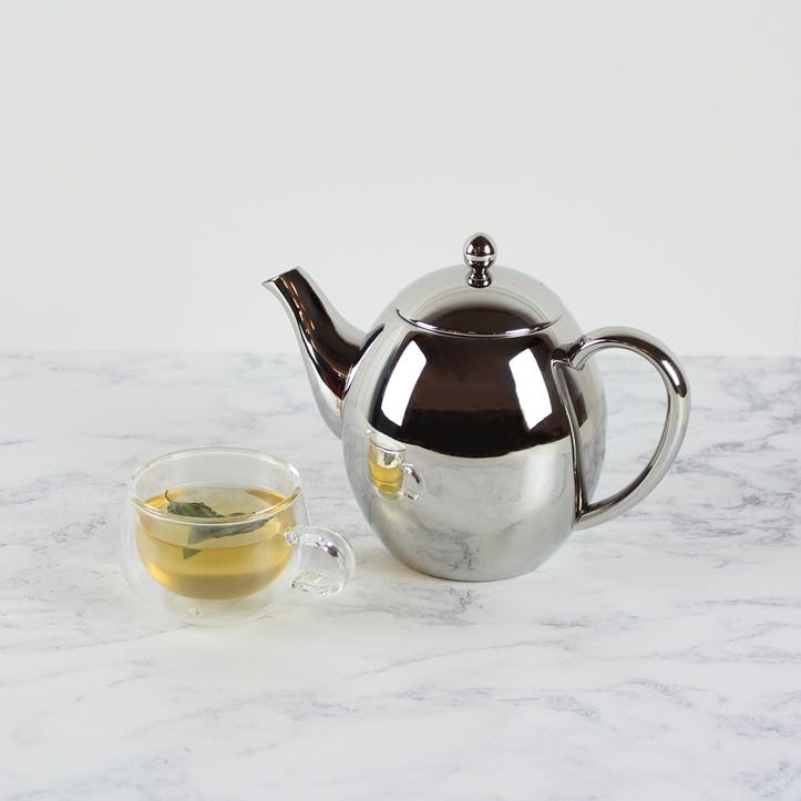 Teatime Double Wall Teapot, Stainless Steel