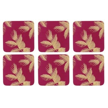 Etched Leaves Coasters, Set of 6, Pink/Gold