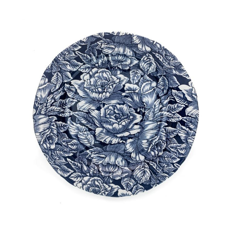 Ink Blue Hibiscus Dinner Plate