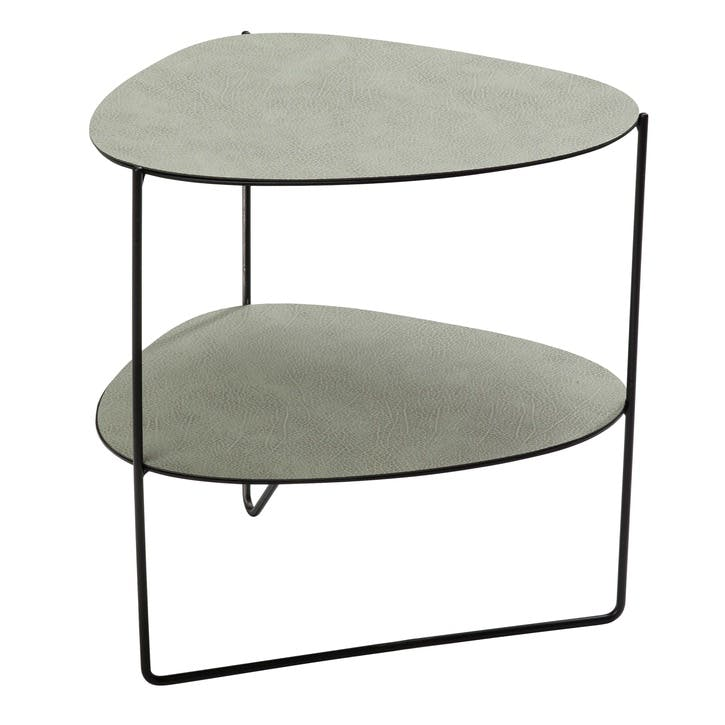 Curve Double Tier Table, Hippo Olive Green