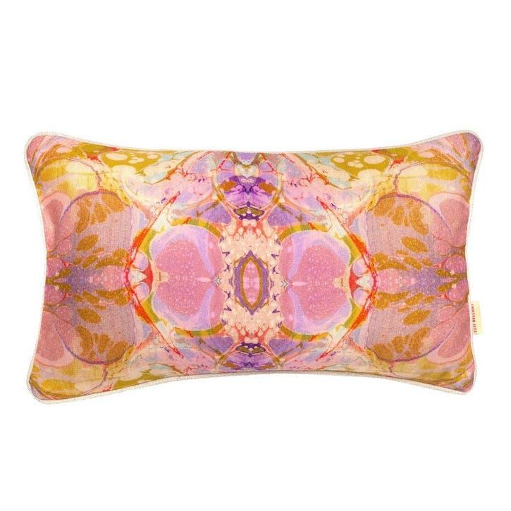 Lavender Tapestry Kaleidoscope, Rectangular Linen Cushion, H53 x W32cm