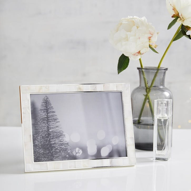 """Mother Of Pearl Photo Frame 5x7"""", White"""