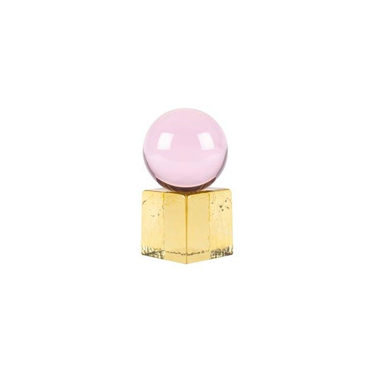 OH MY, Mini Sculpture, H8 x W8 x D15cm, Pink & Amber