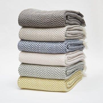 Herringbone Blanket, 2.3 x 1.3m, Dove Grey