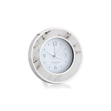 Alarm Clock; White Marble & Silver