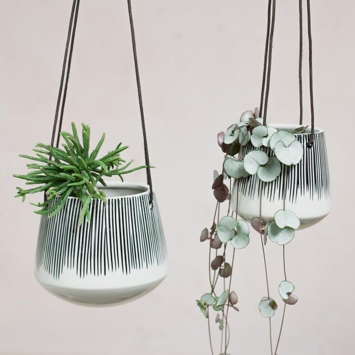 Matamba Ceramic Hanging Planter - Small; Lines