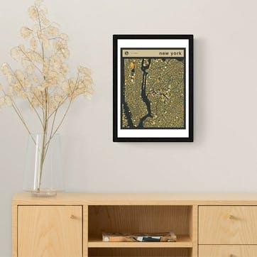 Jazzberry Blue, New York Street Guide Framed Art Print