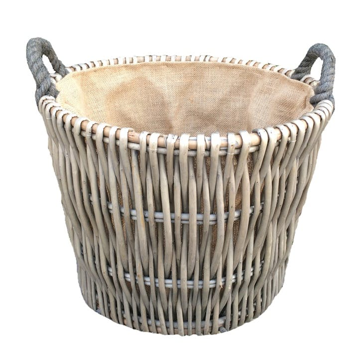 Round Grey Log Basket, Small