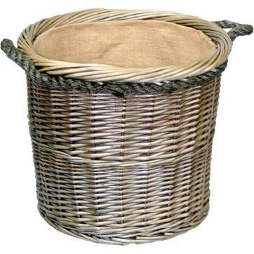 Antique Wash Round Rope Handled Log Basket, Medium