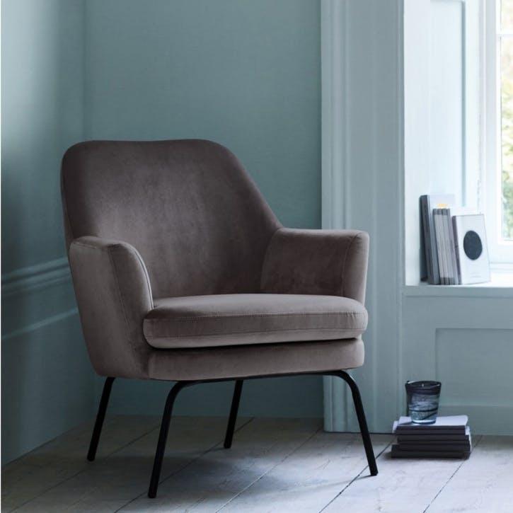 Celine Velvet Armchair, Grey