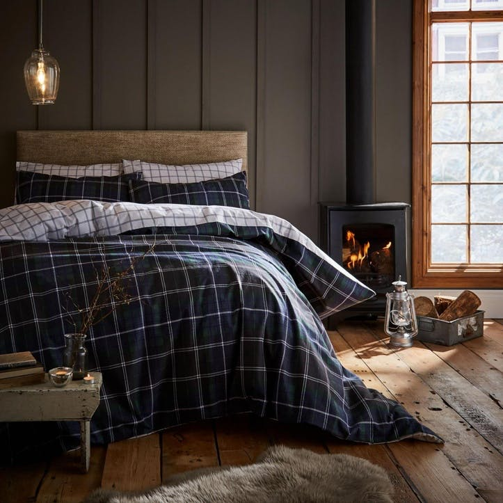 Tartan Check Double Bedding Set, Navy
