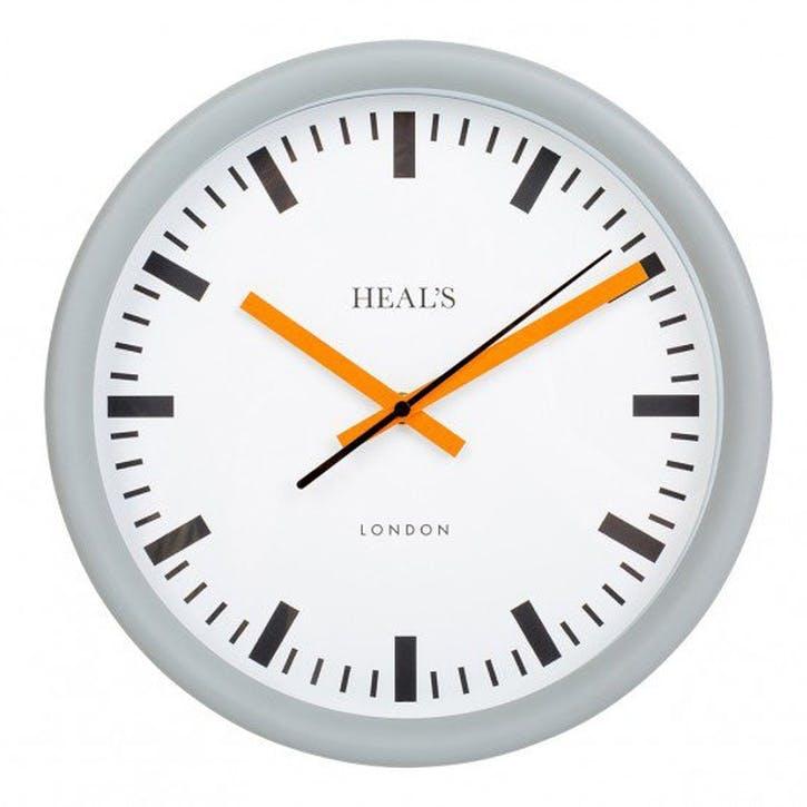 Grey & Orange Wall Clock, 30cm