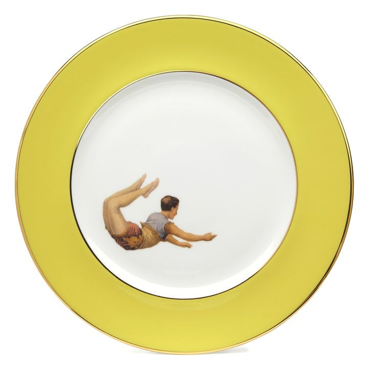 Acts Of Daring Trapeze Boy Dinner Plate, Yellow