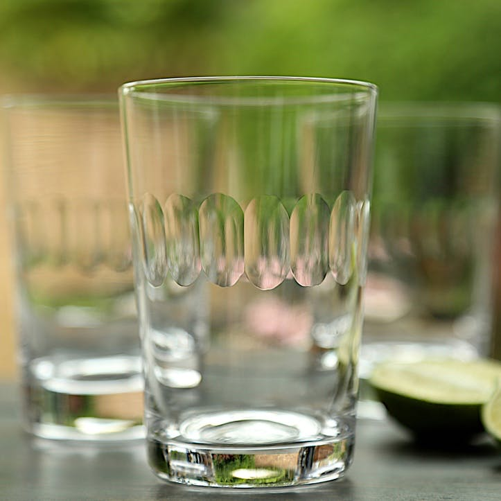 Lens Patterned Crystal Tumblers, Set of 6