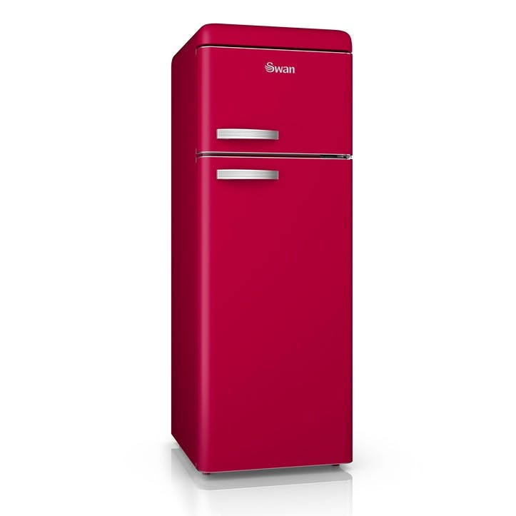 Retro Top-Mounted Fridge Freezer, Red