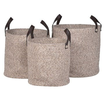 Set of 3 Rope Woven Baskets