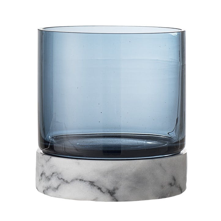 Marble and Glass Votive, Blue