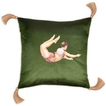 Trapeze Boy Velvet Cushion, Meadow Green