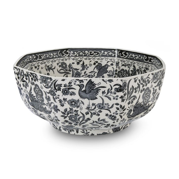 Black Regal Peacock Octagonal Bowl, 20.5cm