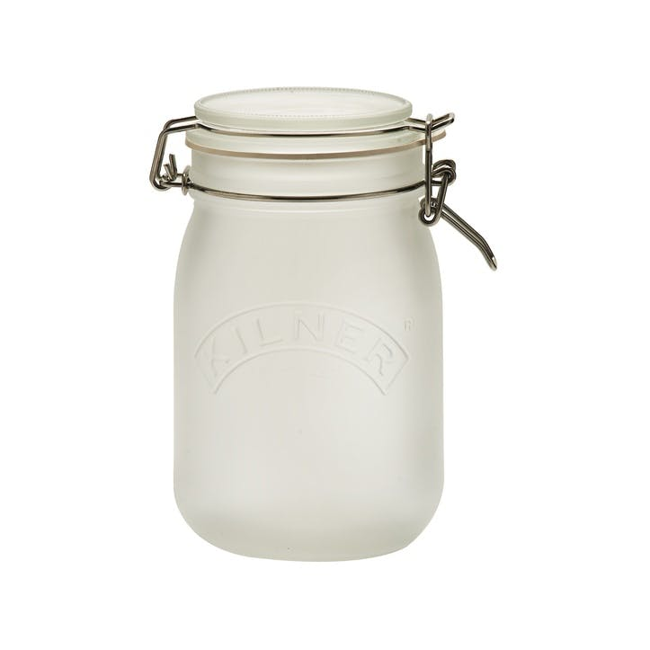 Frosted Clip Top Jar - 1 Litre; White