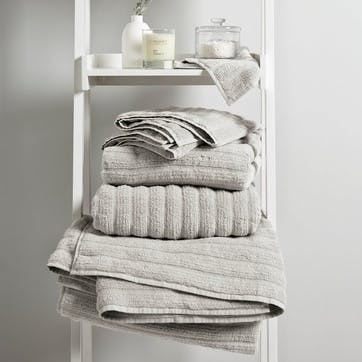 Hydrocotton Ribbed Towel, Bath Towel, Pearl Grey