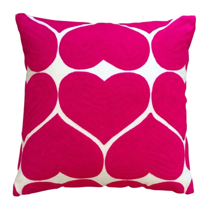 Embroidered Heart Cushion; Fuschia