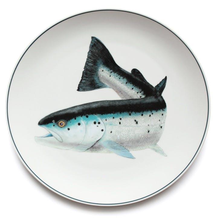 Seaflower Atlantic Salmon Charger Platter, 32cm, Blue