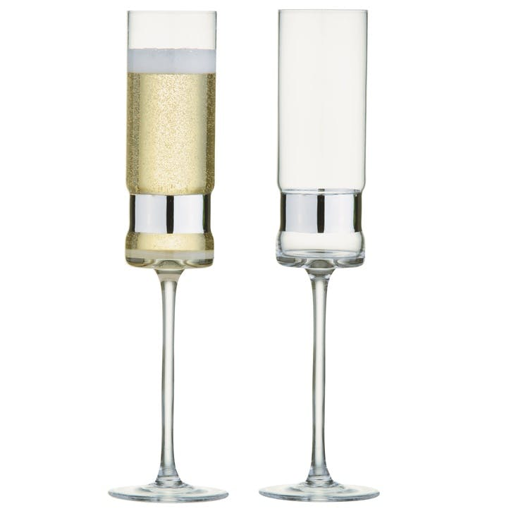 SoHo Silver Champagne Flutes, Set of 2