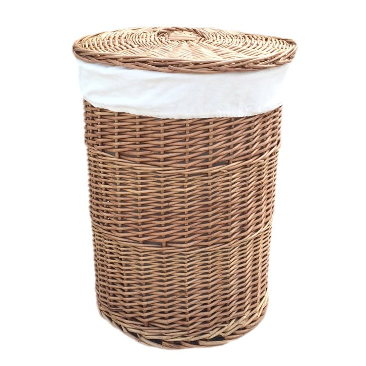 Light Steamed Round Linen Basket With White Lining, Large
