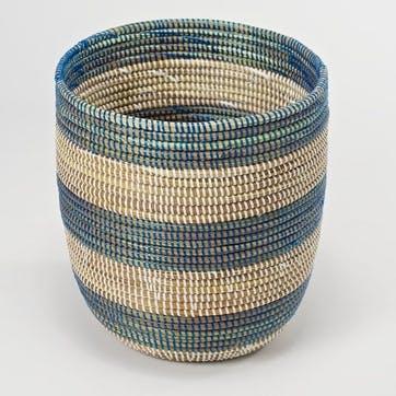 Handwoven Wastepaper Basket, Natural/ Blue Stripes