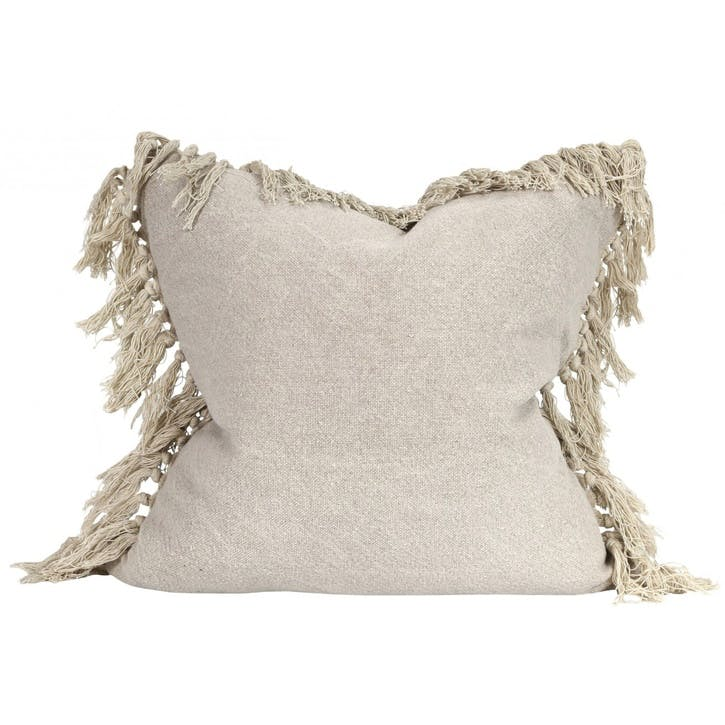 Jute Tassel Cushion, Taupe