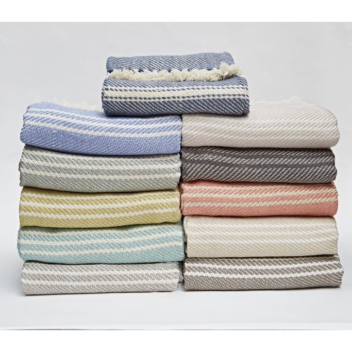 Oxford Stripe Blanket, 2.3 x 1.3m, Dove Grey