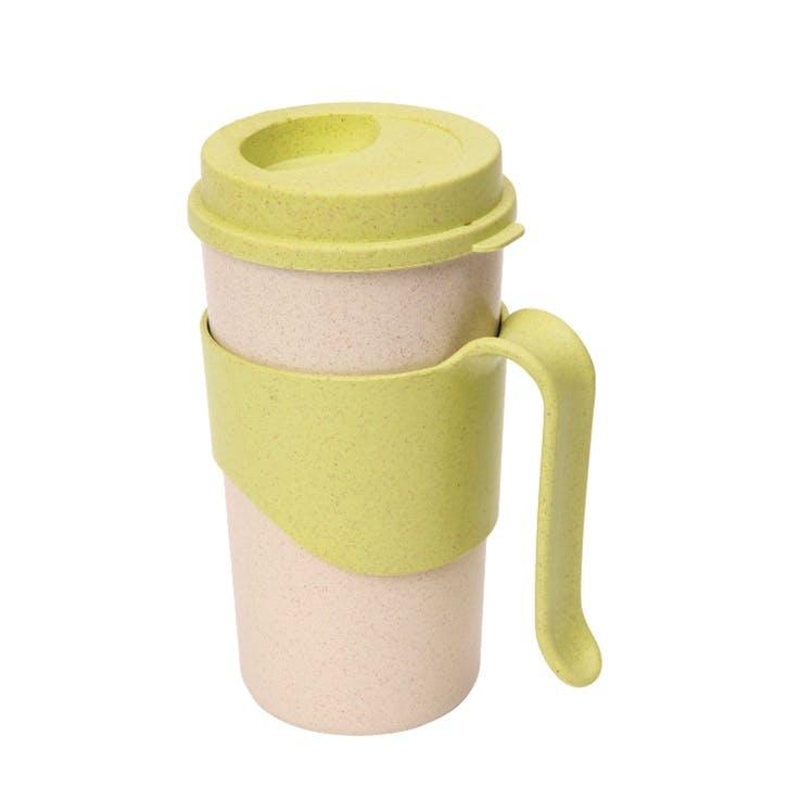 Pastel Wheatfibre Travel Mug, 450ml, Apple Green
