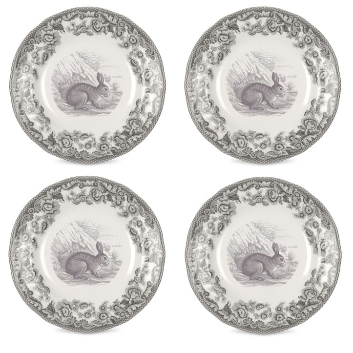 Delamere Rural Rabbit Tea Plates, Set of 4