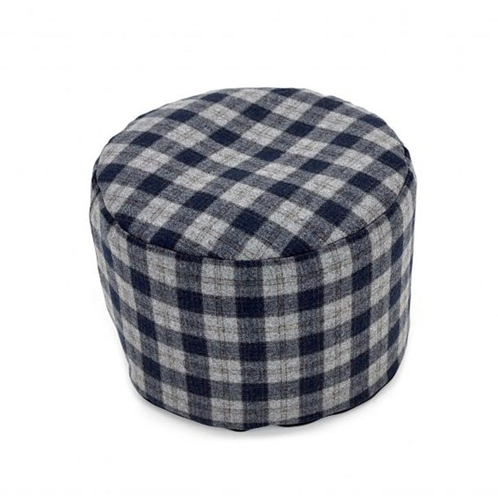 Tweed Pouffe; Navy & Silver Check