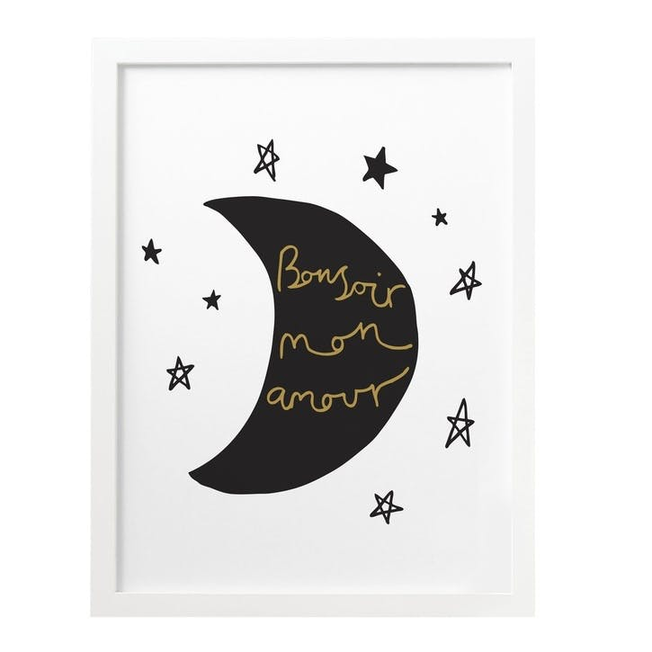 'French Moon & Stars' Print, A3, Black & Gold, White Background