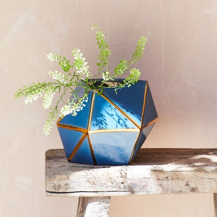 Geometric Blue Vase