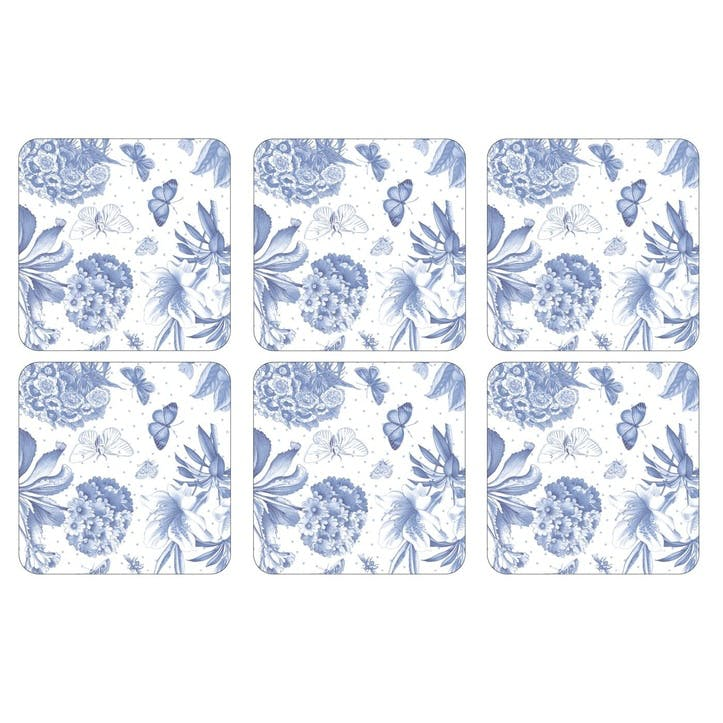 Botanic Blue Coasters, Set of 6