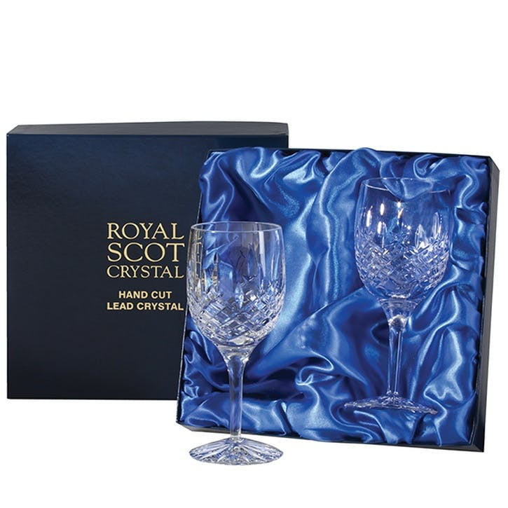 London Large Crystal Wine Glasses, Set of 2