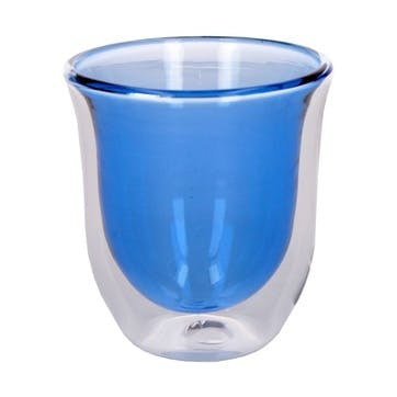 Glass Double Walled Coffee Cup, Set of 2, Blue